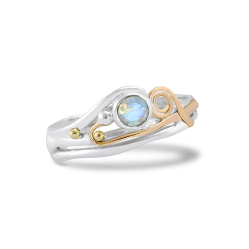 Moonstone and gold wire ring