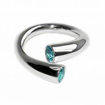 Double taper Wiggly ring with topaz