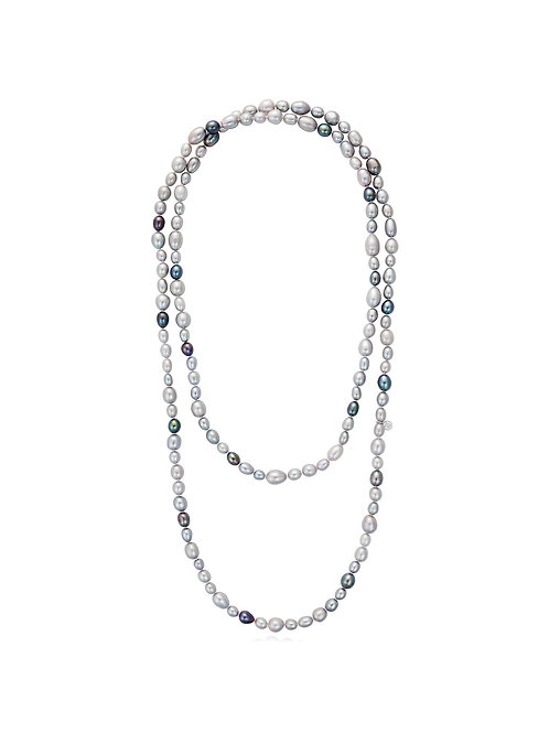 Ombre Baroque pearl rope necklace