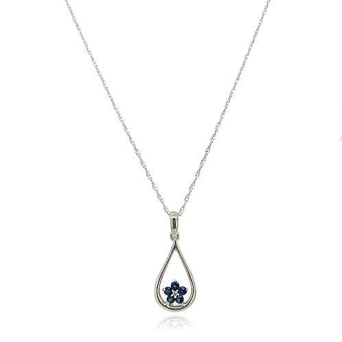 Sapphire and Diamond Fleur pendant