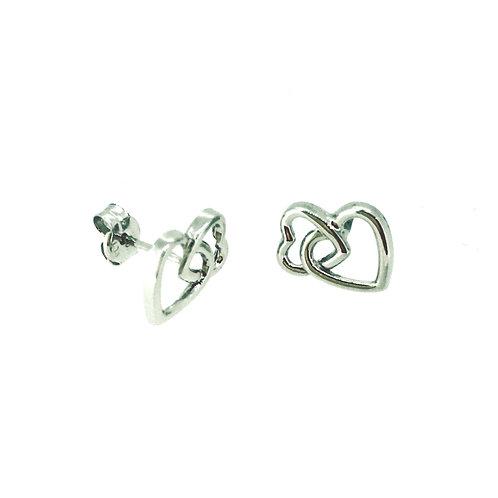 Double Heart white gold stud earrings