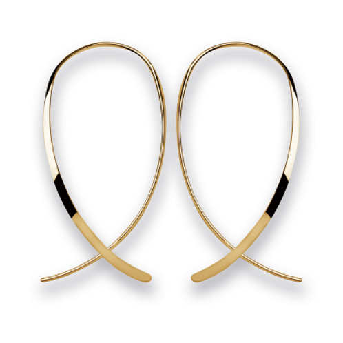 Ear Hangers polished gold plated silver