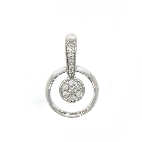 Diamond and white gold round pendant on chain