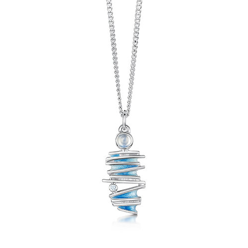 Moonlight pendant with moonstone and cubic zirconia