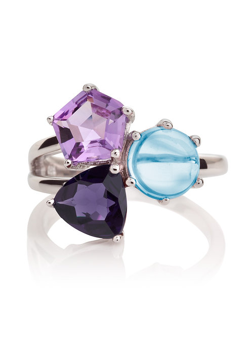 Kintana amethyst, iolite and blue topaz silver ring