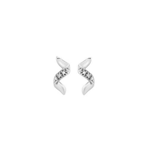Diamond Twist 9ct White Gold stud earrings