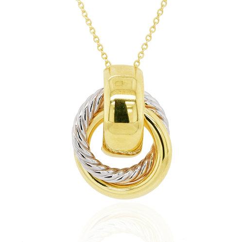 Bicolour Gold Interlocking Circle pendant