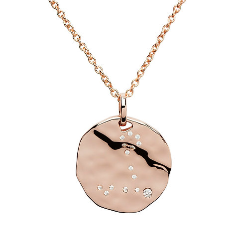 Pisces Constellation Rose gold plated silver pendant