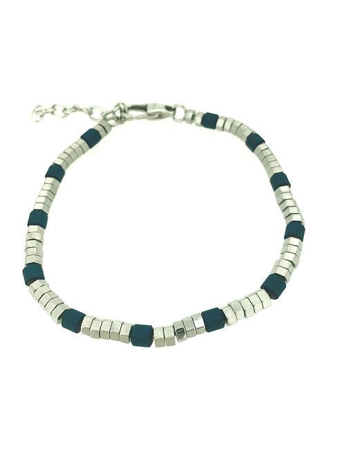 Blue Hematite and Stainless Steel bracelet