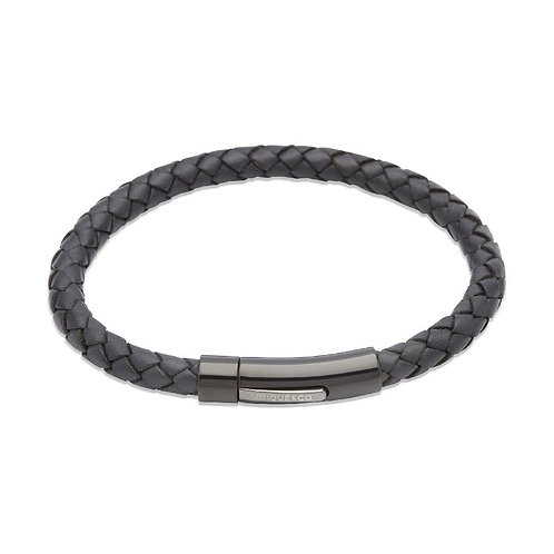 Navy leather bracelet with steel clasp