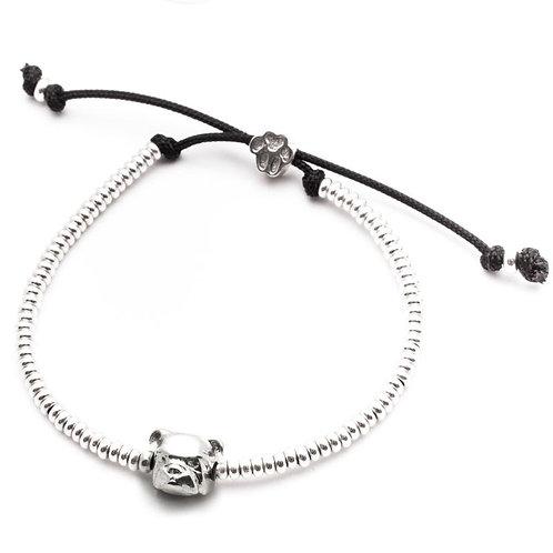 Silver English Bulldog head bracelet
