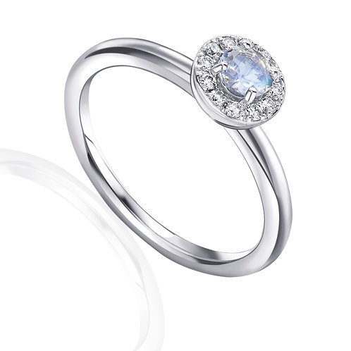 Moonstone and Diamond halo white gold ring