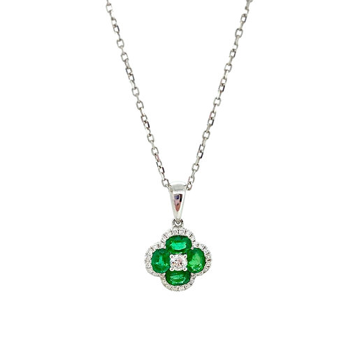 Emerald and Diamond Four Leaf Clover pendant