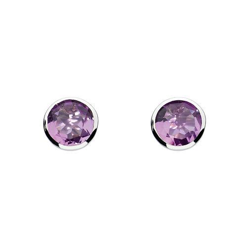 Amethyst round silver stud earrings