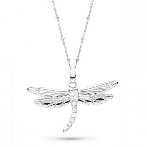 Blossom Flyte Dragonfly white topaz on silver ball chain statement pendant