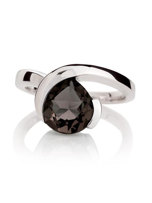 Sensual Smoky Quartz silver ring