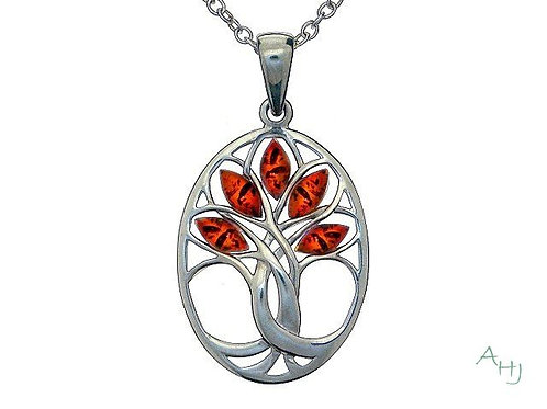 Oval Amber Tree of Life silver pendant
