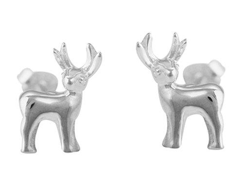 Reindeer silver stud earrings