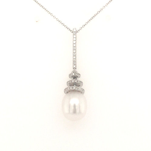 Freshwater Pearl and Diamond 18ct White Gold Bar Drop pendant