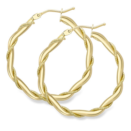 Twist hoop gold earrings