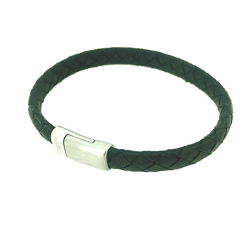 Black Leather bracelet with magnetic clasp