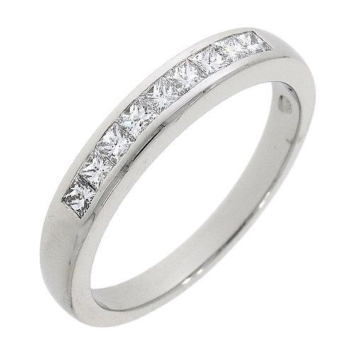 Princess cut Diamond channel set platinum eternity ring