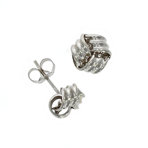 Ribbed white gold knot earrings