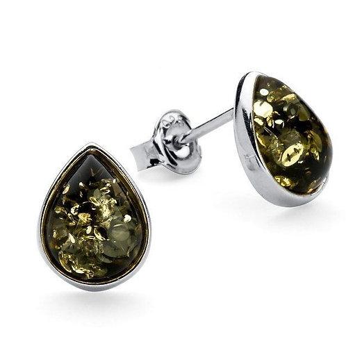 Green Amber teardrop stud earrings
