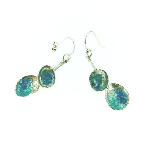 Enamel Rockpool drop earrings