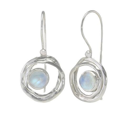 Moonstone and Silver Swirl drop earrings