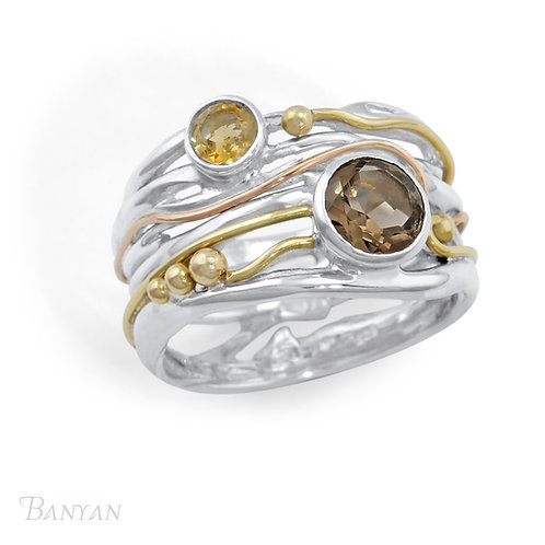 Smoky Quartz and Citrine silver and gold fill  ring
