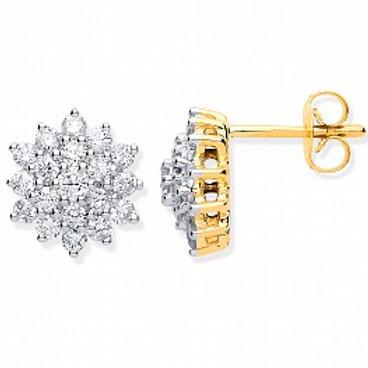 Diamond Daisy 1ct Cluster stud earrings