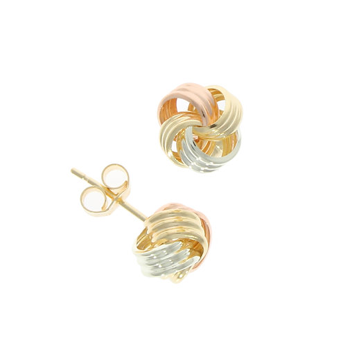 Three colour ribbed loop knot stud earrings