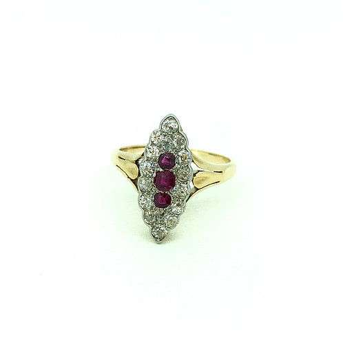 Vintage yellow gold Ruby and Diamond ring 1900