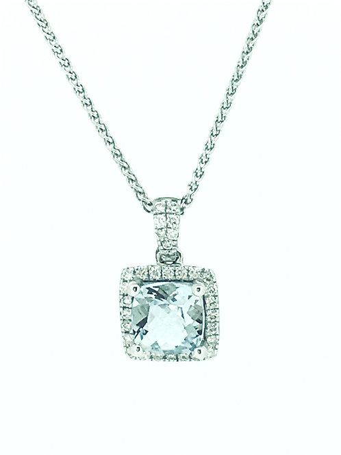 Aquamarine and Diamond cushion 18ct white gold pendant with chain