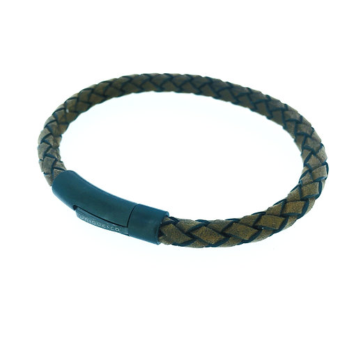 Brown Leather bracelet with gunmetal IP plate clasp