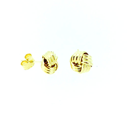 Ribbed 9ct Gold knot stud earrings