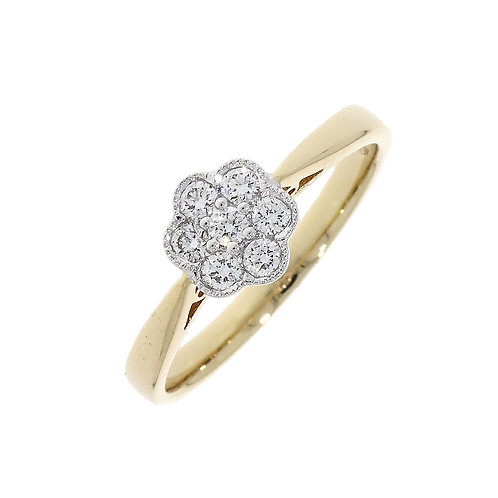 Diamond Millgrain Daisy cluster ring