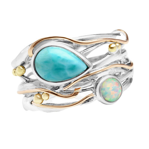 Larimar and Opalite Statement Silver ring