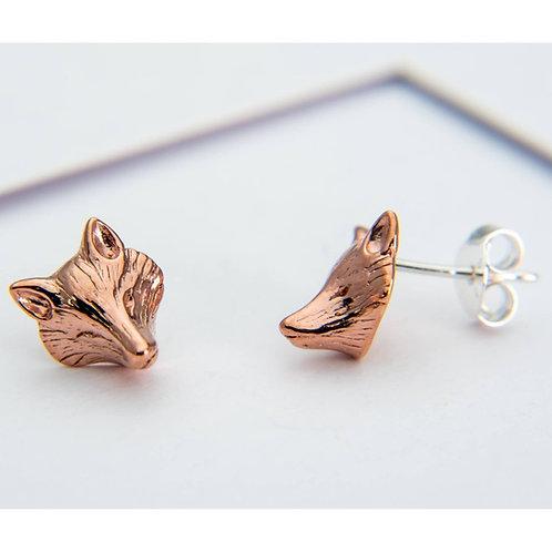 Fox mask rose gold vermeil stud earrings