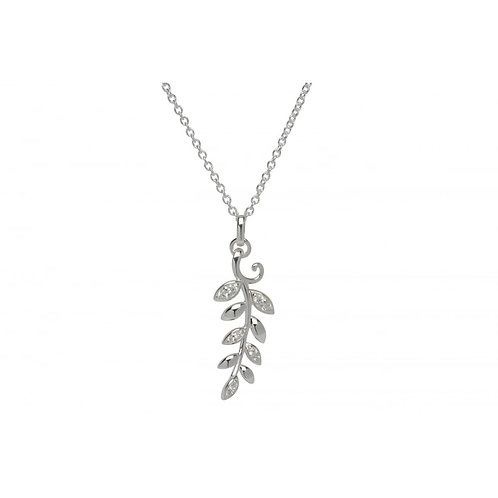 Silver Fern Leaf Pendant set with Cubic Zirconia