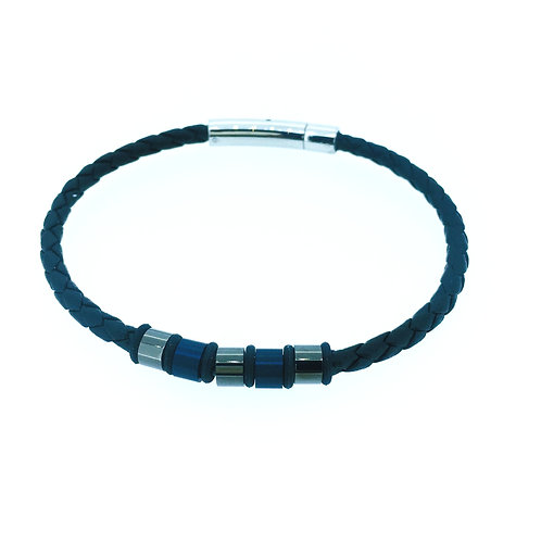 Black Leather bracelet with blue and gunmetal elements