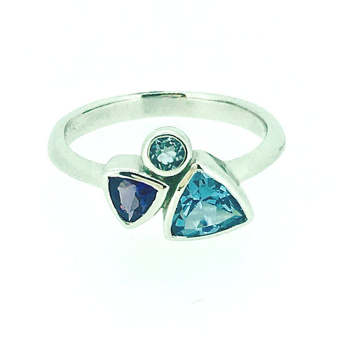 Blue Topaz,Aquamarine, and Amethyst White Gold ring