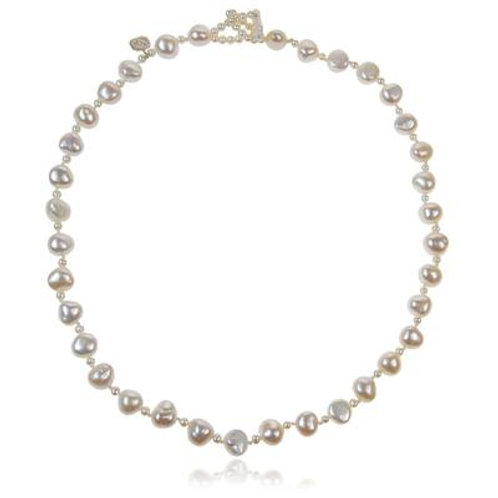 White Seed and Freshwater Biwa Pearl necklace
