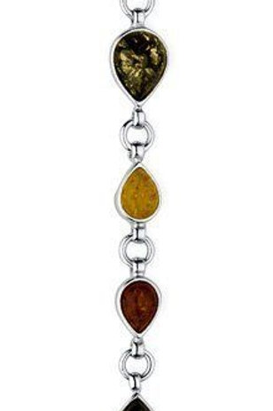Mixed Amber pear drop silver bracelet