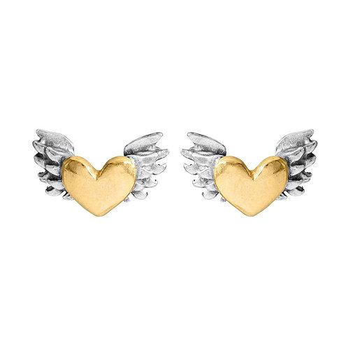 Chubby winged heart earrings