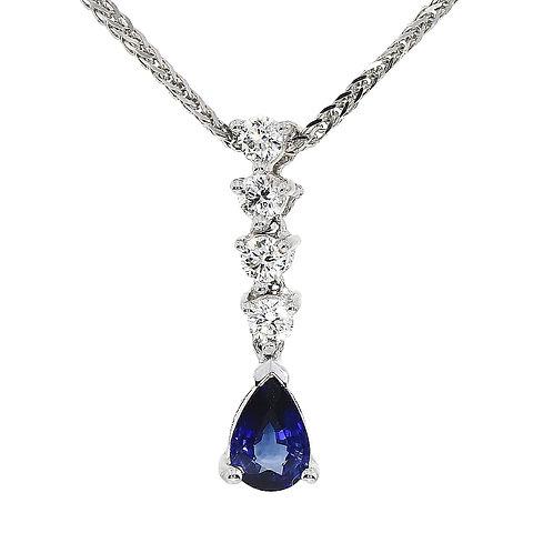 Sapphire and Diamond drop pendant
