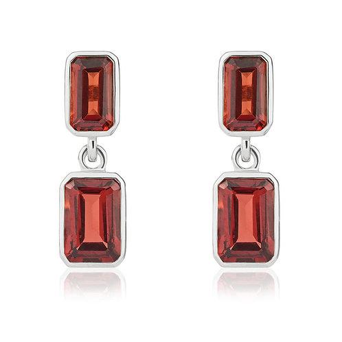 Garnet Octagonal Double Drop White Gold earrings