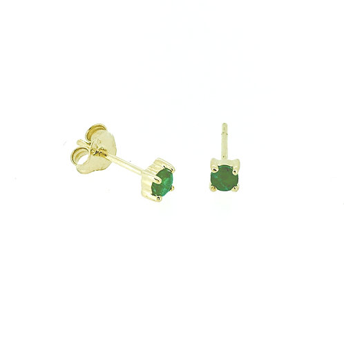 Emerald small gold stud earrings