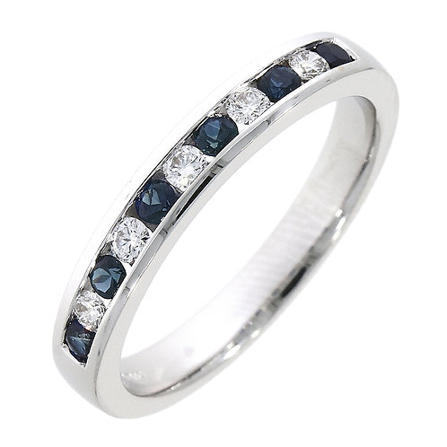 Sapphire and Diamond channel set eternity ring